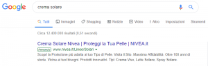 Paid search ad tra i risultati di Google.